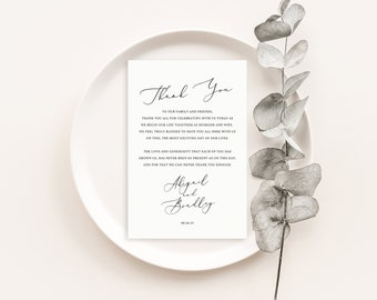 Thank You Note Template, Elegant Script, Wedding Thank You Card, Printable, Fully Editable, Templett INSTANT Download