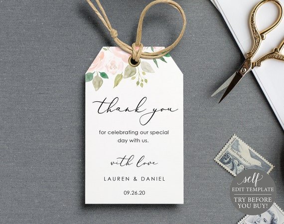 Wedding Favor Tag Template, TRY BEFORE You BUY, Thank You Tag Printable, Instant Download, 100% Editable, Pink & Blush Floral