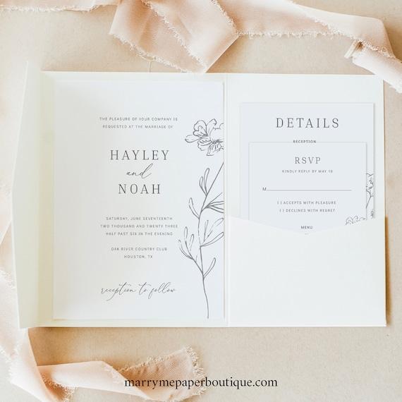 Wedding Invitation Template Set, Elegant Botanical, Try Before Purchase, Editable & Printable, Instant Download, Pocketfold Style