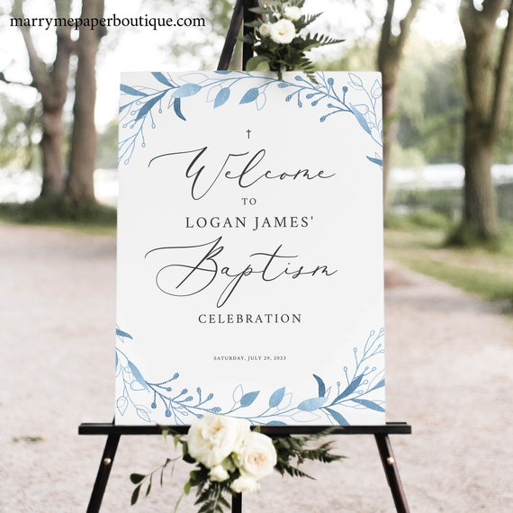 Baptism Welcome Sign Template, Blue Foliage, TRY BEFORE You BUY, Editable Instant Download