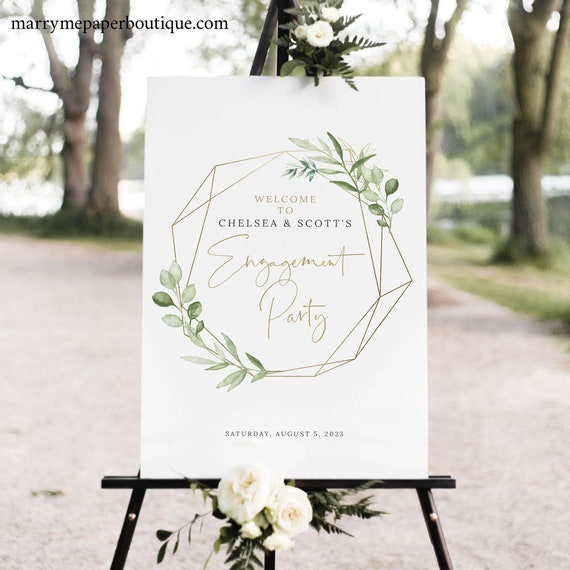 Engagement Party Welcome Sign Template, Greenery & Gold Geometric, Engagement Party Sign, Printable, Editable, Templett INSTANT Download