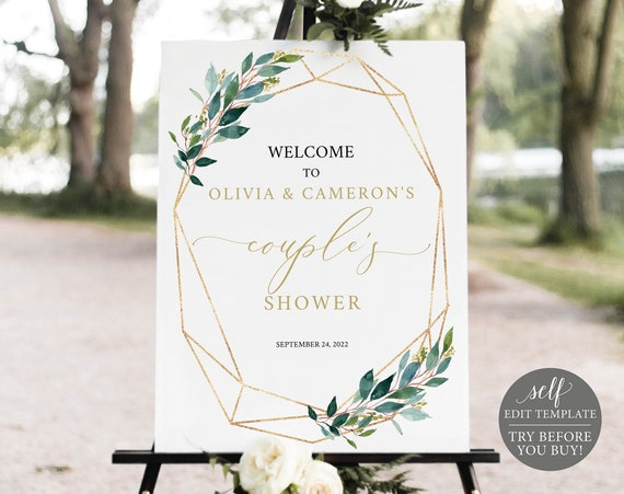Couple's Shower Welcome Sign Template, Greenery Geometric, Editable & Printable Instant Download, Templett, TRY BEFORE You Buy
