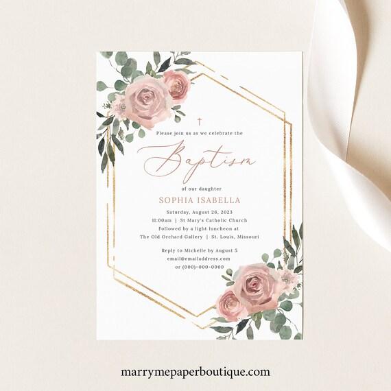 Baptism Invitation Template, Dusky Pink Floral, Printable Baptism Invite, Editable, Templett INSTANT Download
