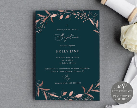 Baptism Invitation Template, 100% Editable Instant Download, Rose Gold Navy, TRY BEFORE You BUY