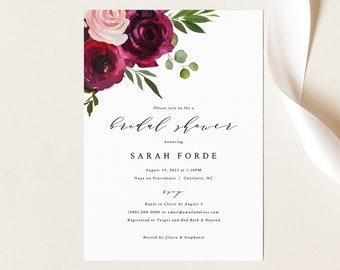 Bridal Shower Invitation Template, Burgundy Flowers, Wine Bridal Shower Printable Invite, Templett Instant Download