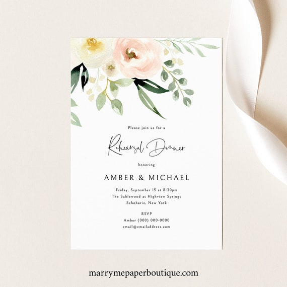 Rehearsal Dinner Text Invitation Template, Pink Floral Greenery, Ivory, Electronic Rehearsal Invite, Printable, Templett, INSTANT Download
