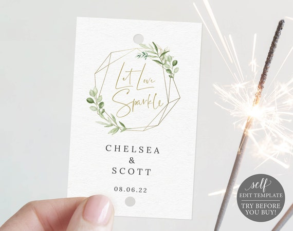 Sparkler Tag Template, Greenery Gold, Demo Available, Editable & Printable Instant Download, Templett