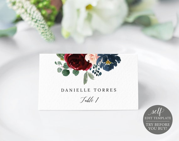 Place Card Template, Burgundy Navy, Editable Instant Download, Templett Printable