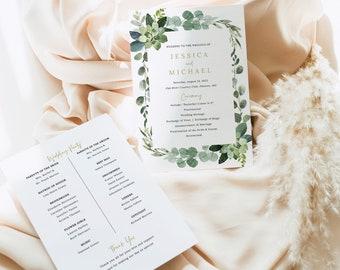Wedding Program Template, Lush Greenery, Wedding Ceremony Program, Printable, Editable, 5x7, Templett INSTANT Download