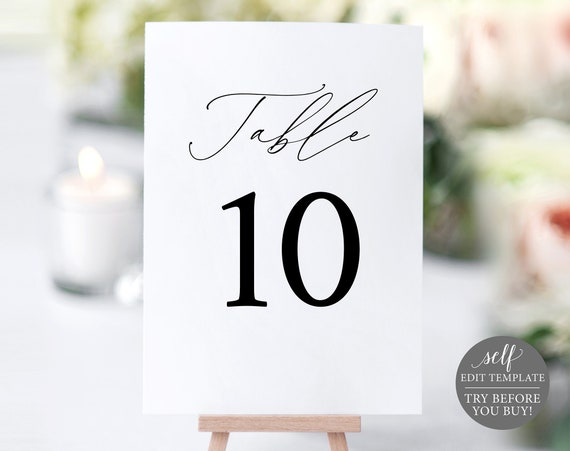 Table Number Template, Stylish Script Font, TRY BEFORE You BUY, Editable Instant Download