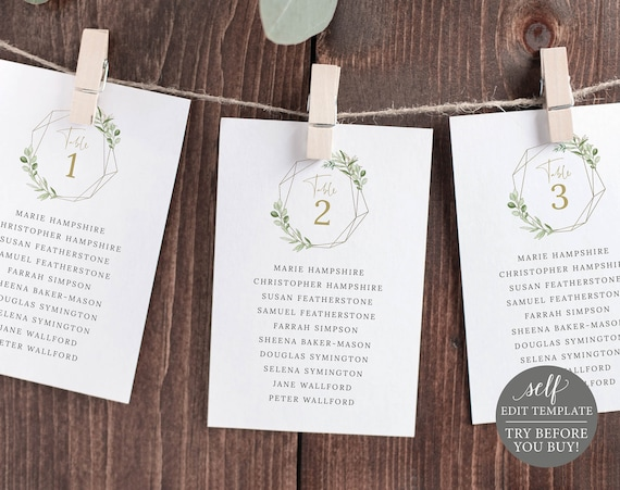 Seating Chart Cards Template, Greenery & Gold, Editable Printable Instant Download, Demo Available, Templett