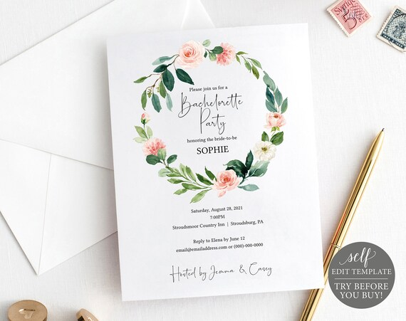 Bachelorette Party Invitation Template, Editable Instant Download, TRY BEFORE You BUY, Floral Greenery
