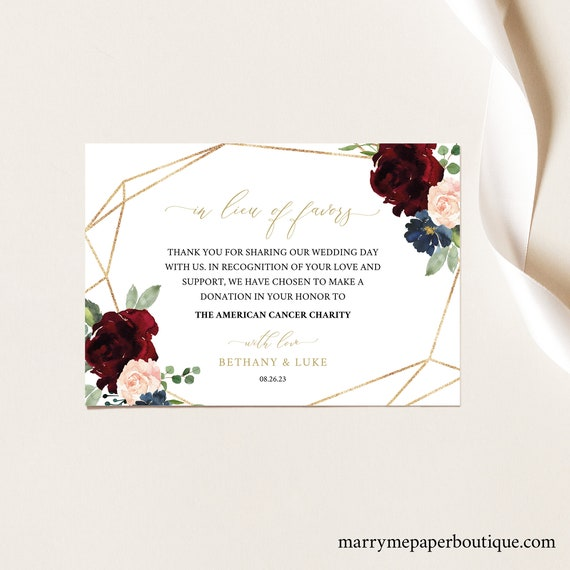 In Lieu of Favors Card Template, Burgundy Geometric, Printable Editable Instant Download, Demo Available