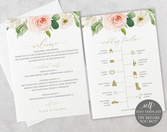 Wedding Itinerary Welcome Card Template, Blush Floral, Editable Instant Download, TRY BEFORE You BUY