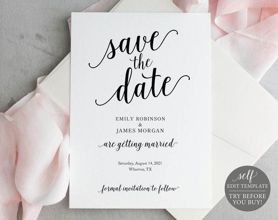 Save the Date Template, Modern Script, Templett, Editable & Printable Instant Download