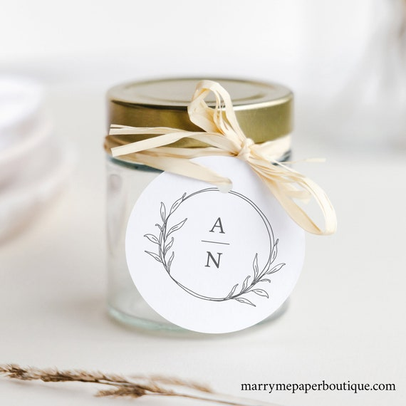 Wedding Favor Tag Template, Circle Monogram, Round Favor Tag, Printable, Templett INSTANT Download, Fully Editable