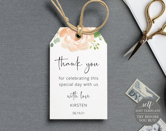 Favor Tag Template, Peach Floral, TRY BEFORE You BUY, Editable Instant Download
