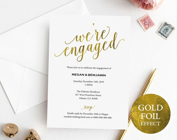Faux Gold Engagement Party Invitation Template, Printable Engagement Party Invitation, Editable Invitation, PDF Instant Download, MM01-3