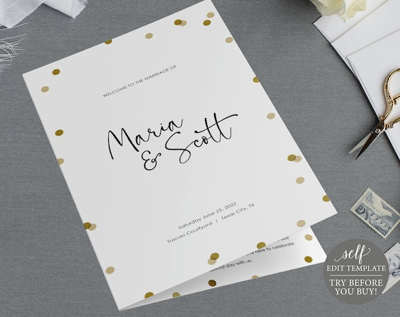 Program Template, Demo Available, Editable & Printable Instant Download, Gold Confetti Folded