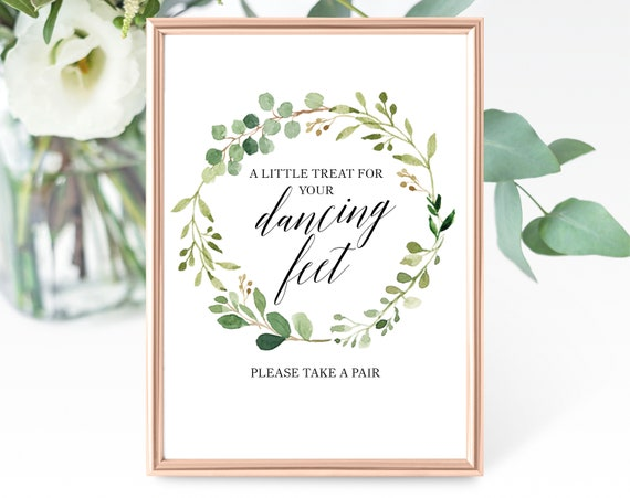 Greenery Wedding Dancing Feet Sign Template, Treat for Your Dancing Feet, Printable Dancing Sign Template, PDF Instant Download, MM07-1