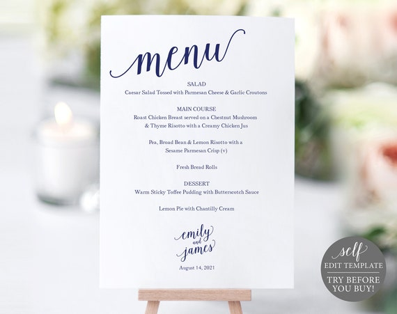 Menu Template, Navy Script 5x7, TRY BEFORE You BUY, 100% Editable Instant Download