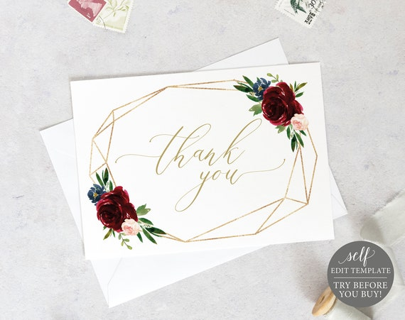 Thank You Card Template, Burgundy Geometric, Printable Editable Instant Download, Demo Available