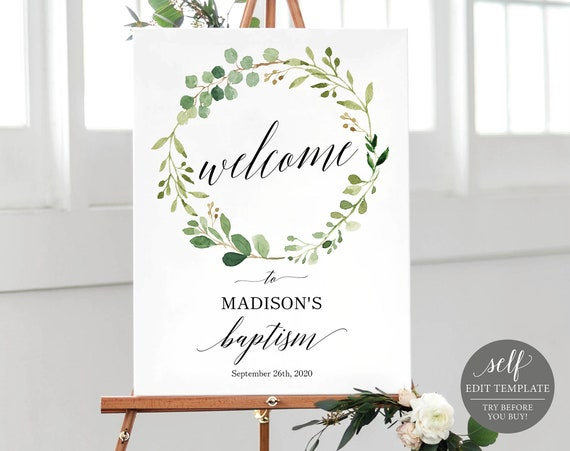 Greenery Baptism Welcome Sign Template, Welcome to Baptism Sign Template, Printable Baptism Sign Template, Instant Download, MM07-1