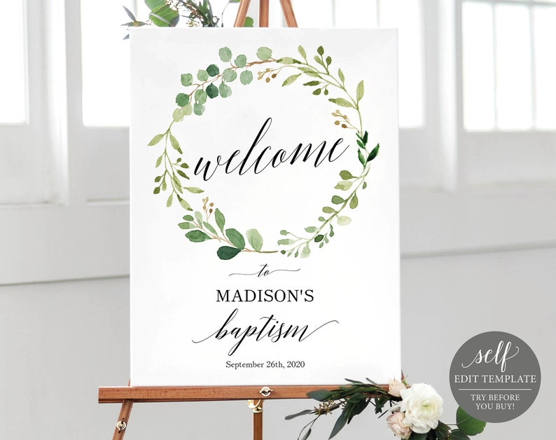 graphic relating to Welcome Sign Template identified as Greenery Baptism Welcome Indicator Template, Welcome in direction of Baptism Signal Template, Printable Baptism Signal Template, Fast Obtain, MM07-1
