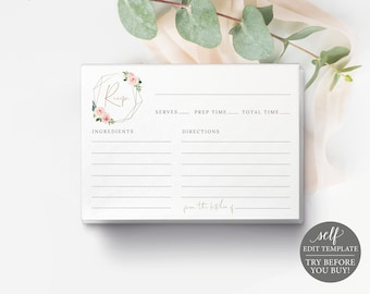 Recipe Card Template, Blush Pink Geometric, Demo Available, Order Edit & Download In Minutes