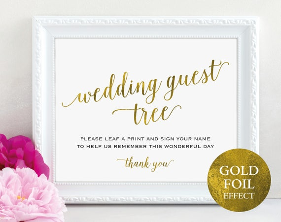 Gold Guest Tree Sign, Leaf a Print and Sign Your Name, Wedding Sign, Wedding Printable, Reception Sign, PDF Instant Download, MM01-3