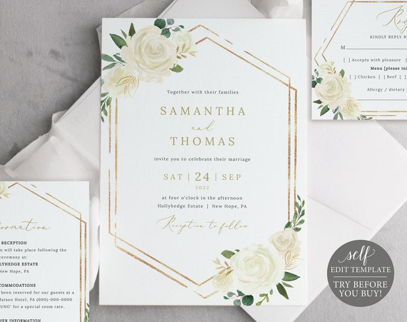 Wedding Invitation Template Suite, White Floral, Order Edit & Download In Minutes, Try Before Purchase