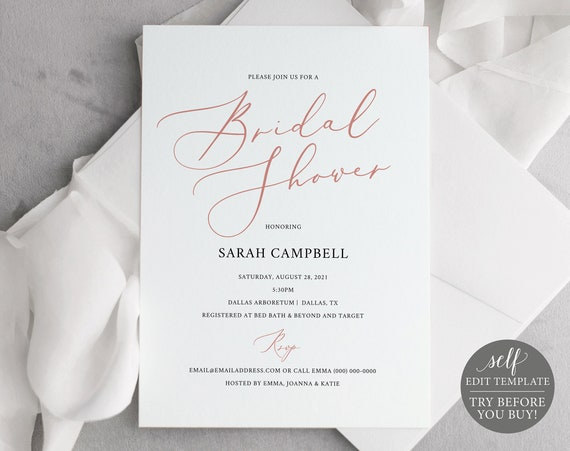 Bridal Shower Invitation Template, FREE Demo Available, Elegant Rose Gold, Editable Instant Download