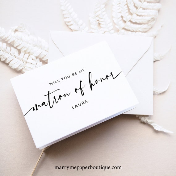 Matron Of Honor Card Template, Modern Calligraphy, Will You Be My Matron Of Honor Proposal Card, Printable, Templett INSTANT Download