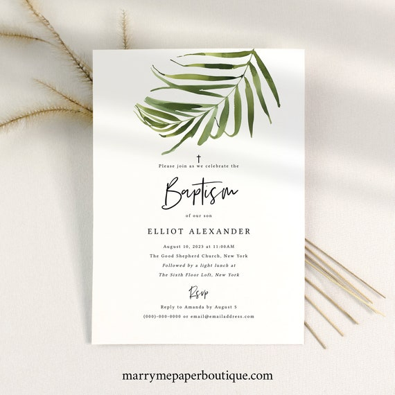 Baptism Invitation Template, Tropical Greenery Baptism Invite, Printable, Templett, Instant Download, Fully Editable