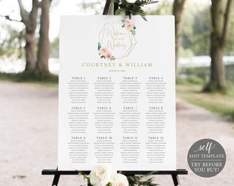 Seating Chart Template, Blush Pink Geometric, Order Edit & Download In Minutes, Try Before Purchase