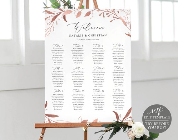 Seating Plan Template, TRY BEFORE You BUY, Fully Editable Instant Download, Rose Gold Leaf
