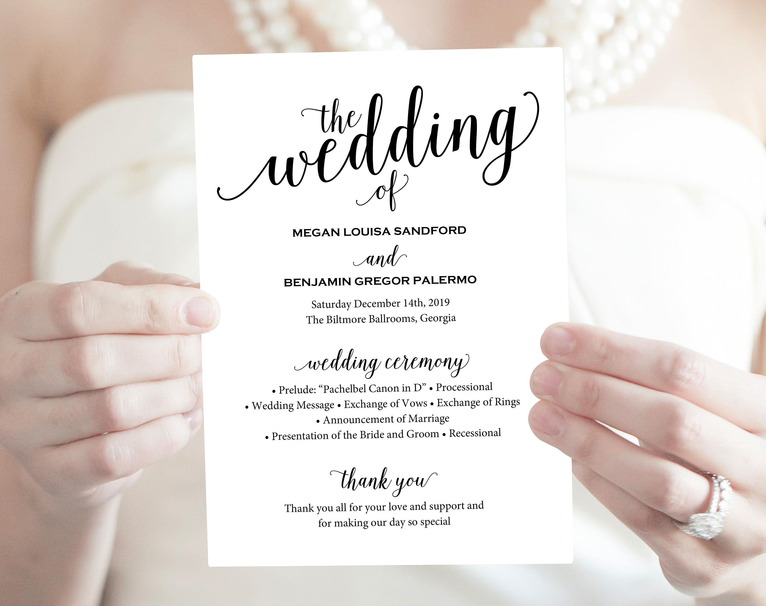 wedding program template rustic wedding program printable program