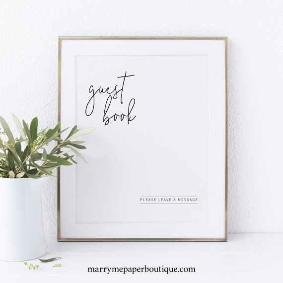 Guest Book Sign Template, Minimalist Elegant, Instant Download, Non-Editable