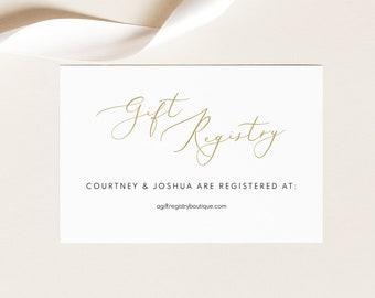 Gift Registry Card Template, Elegant Gold Script, Wedding Registry Card Printable, Editable, Templett, INSTANT Download