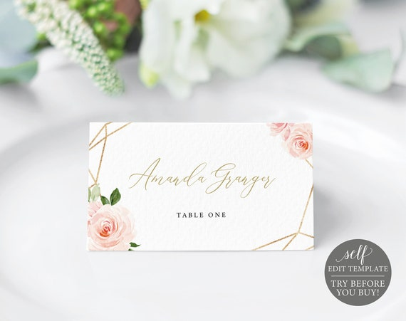 Place Card Template, Folded, Fully Editable Instant Download, Blush Floral, TRY BEFORE You BUY