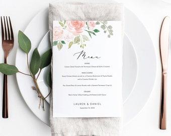 Floral Wedding Menu Template, Dessert Menu Printable,  Editable Wedding Menu, Pink Floral Menu, Instant Download, TRY BEFORE You BUY