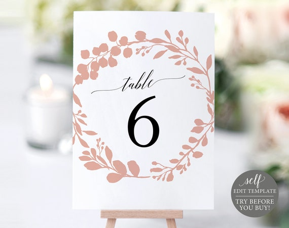 Table Number Template, Editable Instant Download, TRY BEFORE You BUY, Rose Gold Wreath