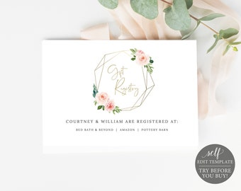 Gift Registry Card Template, Blush Pink Geometric, Order Edit & Download In Minutes, Try Before Purchase