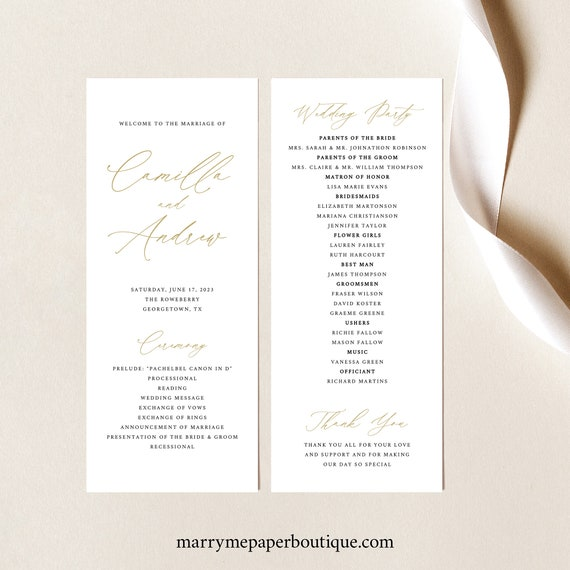 Wedding Program Template, Free Demo Available, Printable Editable Instant Download, Stylish Gold Script