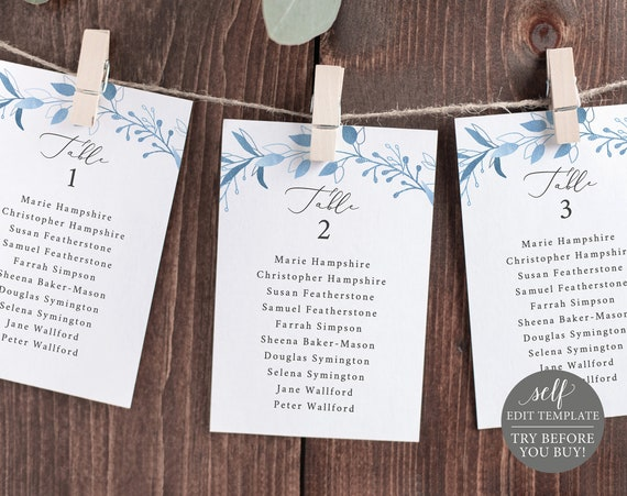 Seating Chart Template, TRY BEFORE You BUY, Fully Editable Instant Download, Blue Foliage