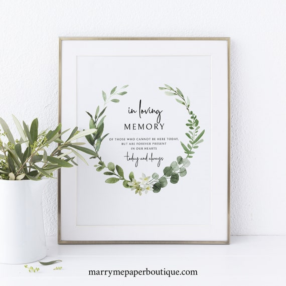 In Loving Memory Sign Template, Printable Sign, Instant Download, Non-Editable, Elegant Greenery