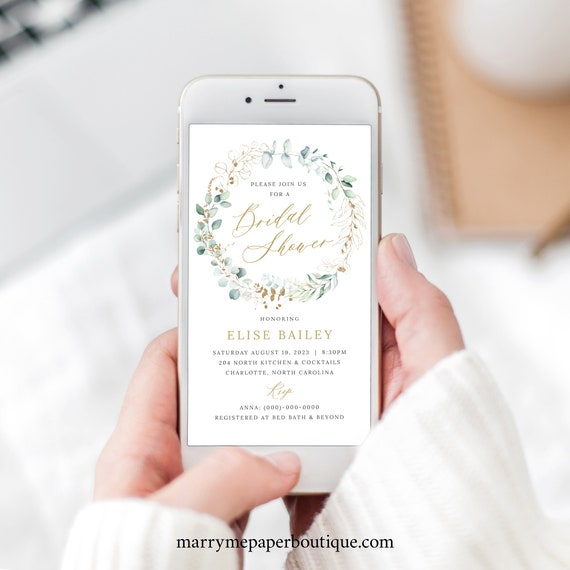 Bridal Shower Text Invitation Template, Gold & Greenery, Electronic Invite, Templett INSTANT Download, Editable