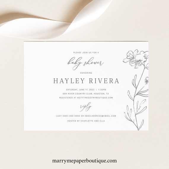 Baby Shower Invitation Template, Free Demo Available, Editable Instant Download, Elegant Botanical
