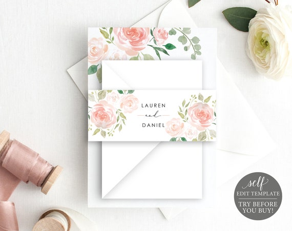 Wedding Belly Band Template, TRY BEFORE You BUY, Fully Editable Instant Download, Blush Floral