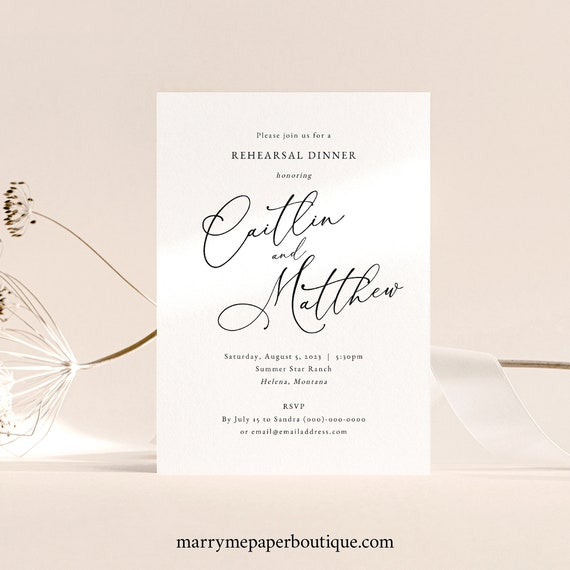 Rehearsal Dinner Invitation Template, Calligraphy Wedding, Elegant Wedding Rehearsal Dinner Invite, Printable, Templett INSTANT Download